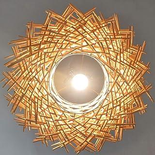 HLigExp Plafonnier LED lustre en rotin tissé à la main abat-jour rétro créatif nid d'oiseau lustre tissé E27 hauteur régla...