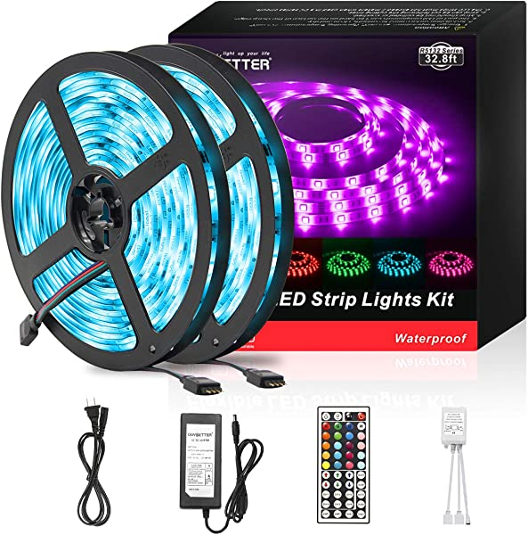 DAYBETTER Led Strip Lights 32 8ft Waterproof Flexible Tape Lights Color Changing 5050 RGB 300 LEDs Light Strips Kit With 44 Keys IR Remote Controller And 12V Power Supply For Home Bedroom Kitchen