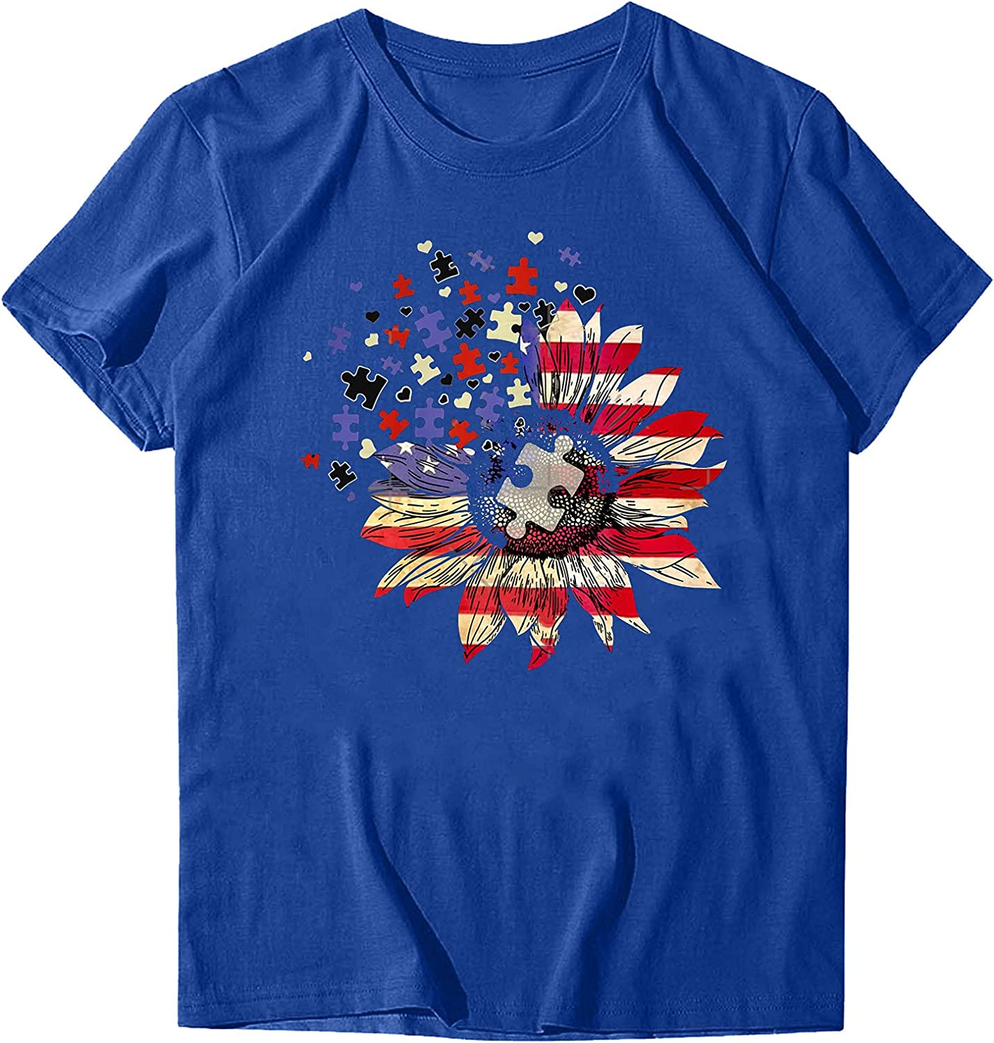 Sayhi Women's Casual Tunics Shirts Sunflower Print Round Neck T-Shirt Short Sleeve Tops Independence Day Shirts