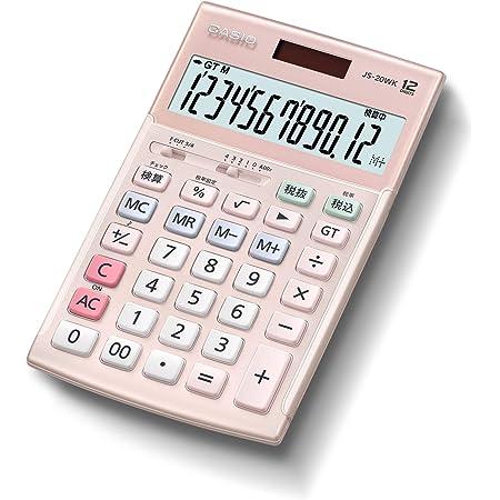 カシオ 本格実務電卓 12桁 検算機能 グリーン購入法適合 ジャストタイプ ピンク JS-20WK-PK