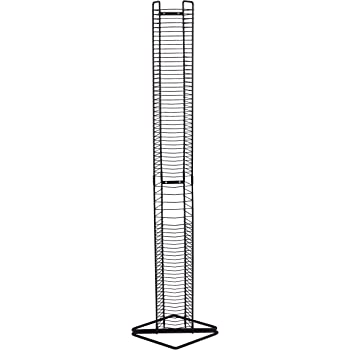 Atlantic Onyx Wire CD Tower - Holds 80 CDs in Matte Black Steel, PN 1248