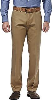 Haggar Men's Premium No Iron Khaki Straight Fit Flex Waistband Flat Front Pant