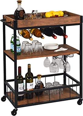 Kitchen Cart Bar Cart for Home Mobile Metal Wood Wine Cart Rolling on Wheels with Handle Rack, Glass Holder, 4 Hooker Removable Wood Box Container, Rustic Bar Serving Cart, 26.4L x 15.7W x 35.2H