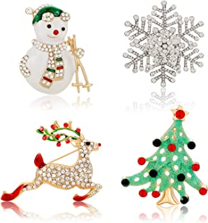 YAHPERN Women's Christmas Metal Brooch Pins Set Crystals Winter Snowflake Snowman Christmas Tree Reindeer Brooch Pins Set