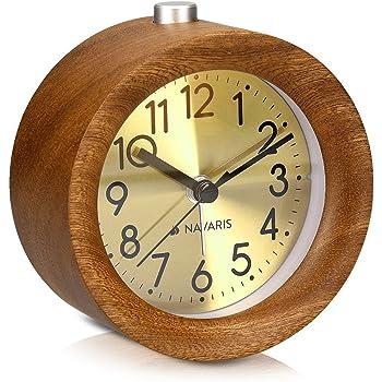 Navaris Réveil Matin Silencieux Horloge réveil Bois foncé
