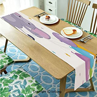 Nursery Table runner for Farmhouse Dining Coffee Table Decorative,Happy Elephant with Colorful Balloons and Stars Cheerful Fun Kids Cartoon Decorative 14