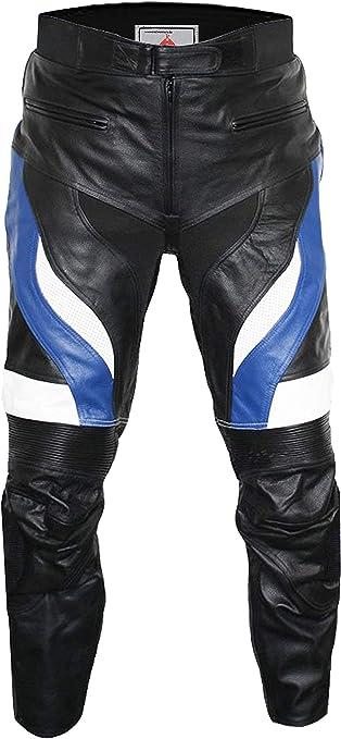 Uomo BlauWeiss//Schwarz 46 German Biker Racing Wear Pantaloni in pelle bovina