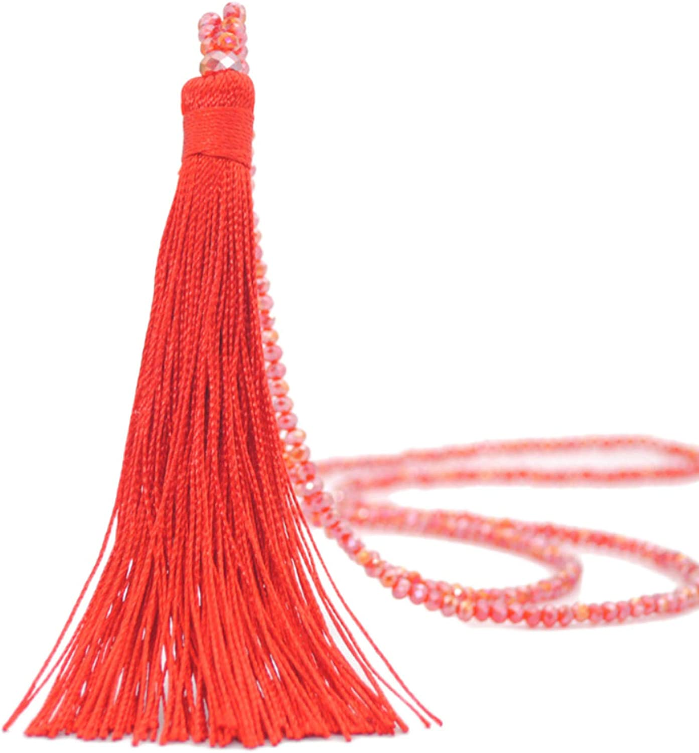 Necklaces for Women,Fashion Women Tassel Pendant Faux Crystal Beaded Long Necklace Jewelry Gift Gifts For Daughter/Her/Girls/Wife/Mom/Girlfriend