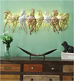 Your Furnisher's Metal 7 Running Horses in Multicolour with LED Wall Art Decor for Living Room, Bedroom, Dining Room (32x1...