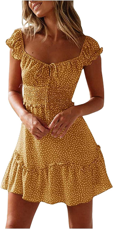 Women's Sexy Summer Pleated Sleeve Neckline Print Dress Mini Dress Sundress