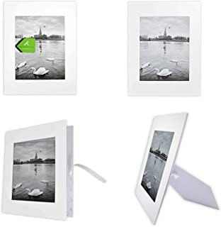 Golden State Art, Pack of 10 White 11x14 Self-Assemble Photo Mat for 8x10 Picture with Backing Board pre-gummed W/Easel Display Stand, Includes 10 Clear Bags