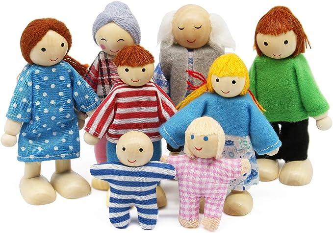268 opinioni per Wagoog Bambole Set Famiglia di Bambole, Legno 8 Persone Mini Figure Bambole