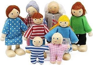 Wagoog Ensemble de Famille de poupées de Maison de poupées - en Bois 8 Mini Figurines de Personnages poupées pour Accessoi...