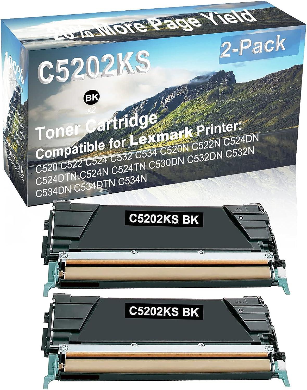 2-Pack (Black) Compatible High Yield C5202KS Laser Printer Toner Cartridge Used for Lexmark C530DN, C532DN, C532N, C534DN, C534DTN, C534N Printer