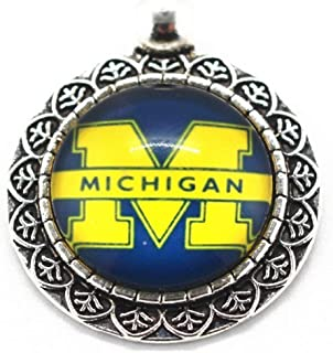 BAS Ohio State Buckeyes Flower Shaped Dangle Charm Glass Pendant 1 inch by 1 inch