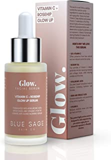 Blue Sage Vitamin C + Rosehip Glow up Daily Facial Serum | Natural Anti-Aging Skin Care Face Serum - Hyaluronic Acid, Witch Hazel and Glycolic Acid to smooth, Tighten and Brighten skin