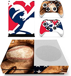 L'Amazo Best Sport American football basketball baseball style XBOX ONE SLIM Skin Designer Game Console System p 2 Controller Decal Vinyl Protective Covers Stickers for XBOX ONE S (Retro)