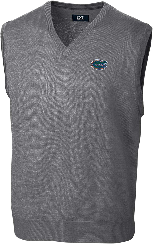 (Large, Florida Gators Grey) - Cutter & Buck Douglas V-Neck Sweater Vest