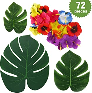 srinea Prime Palm Leaves with Hibiscus Flowers for Hawaiian Party Jungle Beach Theme Decorations, Green Wedding, Home Decor [(72 Pcs 4 Kinds) 48 Palm Turtle Leaf & 24 Rose of Sharon]