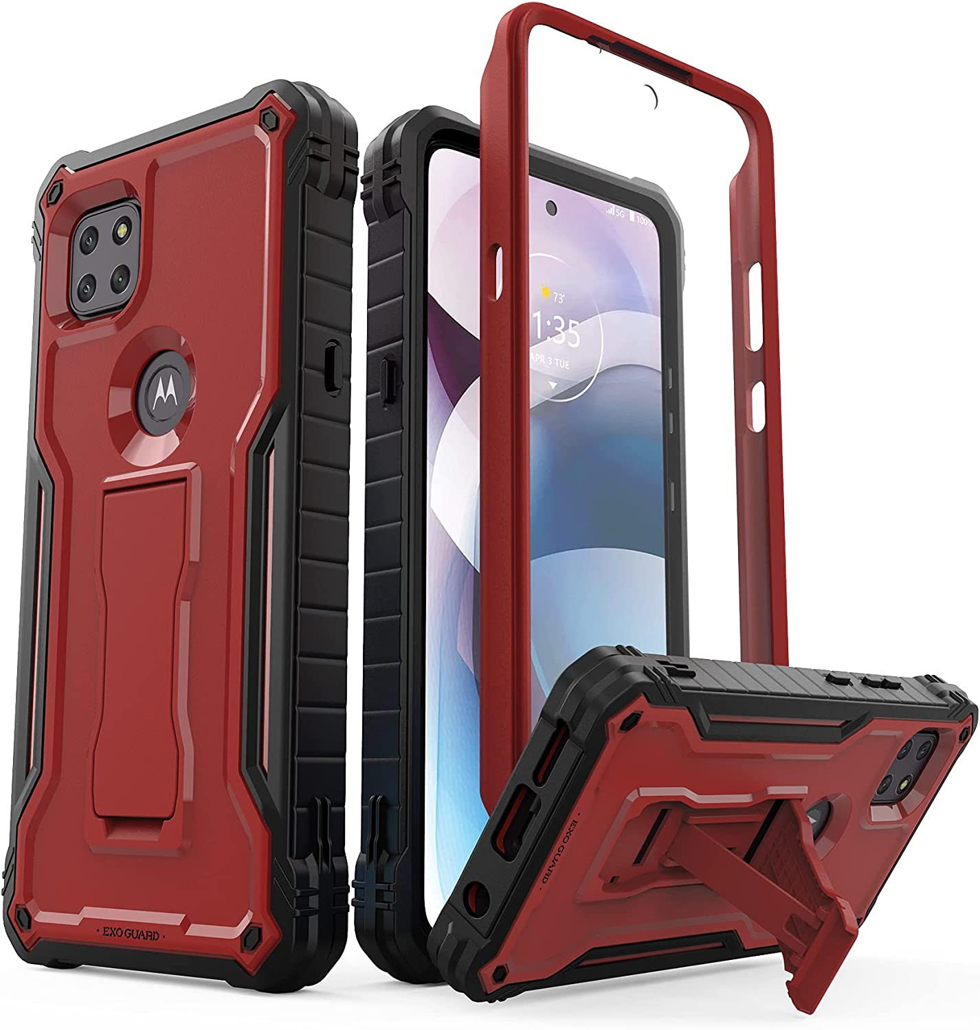 ExoGuard for Motorola One 5G Ace Case, Rubber Shockproof Full-Body Cover Case Built-in Screen Protector and Kickstand Compatible with Moto One 5G Ace Phone (Red)