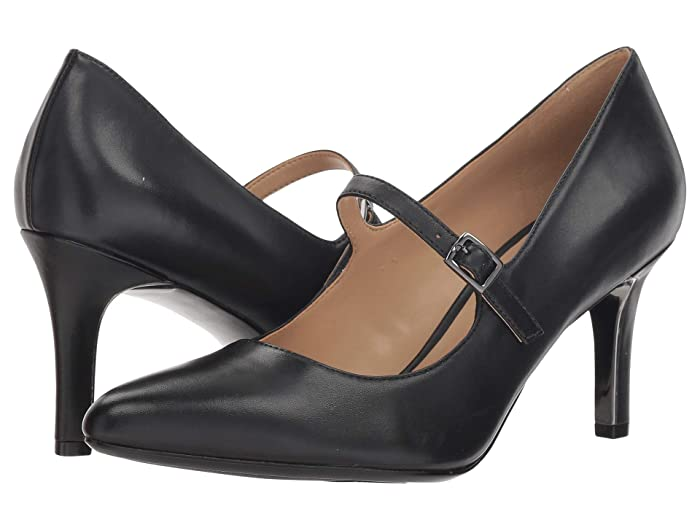 Vintage Style Shoes, Vintage Inspired Shoes Naturalizer Naiya Black Leather Womens 1-2 inch heel Shoes $98.95 AT vintagedancer.com