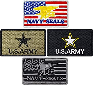 JumpyFire Tactical USA Army Velcro Patch, 4 PCS Navy Seals Embroidered Military Morale Patches for Backpack Hat Jacket Jeans Uniform