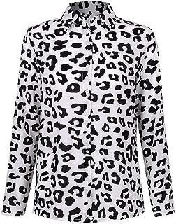 Da Donna manica sbuffo Frill Orlo Animale Leopardo Stampa Maglione Donna Top Camicia Blusa