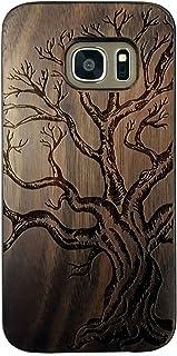 """BTHEONE Samsung Galaxy S7 5.1 inch Wooden Case, Genuine Real Wood Case for Galaxy S7 G9300 (5.1"""") - Handmade Wood & Slim Durable Polycarbonate Bumper (Walnut-Yggdrasill) (Walnut Dead Tree)"""