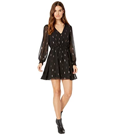 1.STATE Smocked Waist V-Neck Foil Print Dress (Rich Black) Women