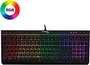 HyperX Alloy Core RGB – Membrane Gaming Keyboard – Comfortable Quiet Silent Keys with RGB LED Lighting Effects, Spill Resistant, Dedicated Media Keys, Compatible with Windows 10/8.1/8/7 – Black