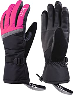 MCTi Ski Gloves,Winter Waterproof Snowboard Snow 3M Thinsulate Warm Touchscreen Cold Weather Women Gloves Wrist Band