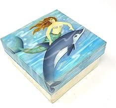 Kubla Crafts Mermaid Swimming with Dolphin Capiz Shell Keepsake Box, 4 Inches X 4 Inches