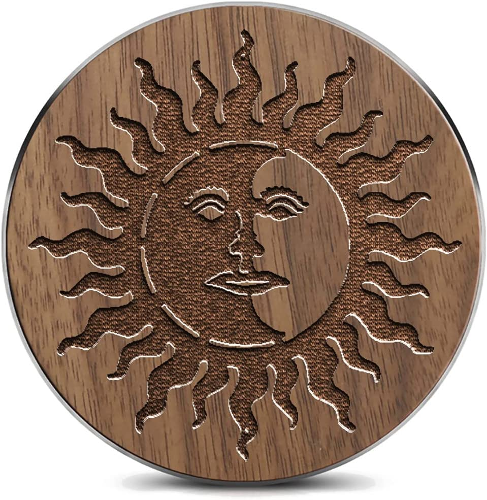 Limited time trial price Wooden Wireless Charging pad with Over item handling ☆ Scary Tattoo Abstract Carv Sun
