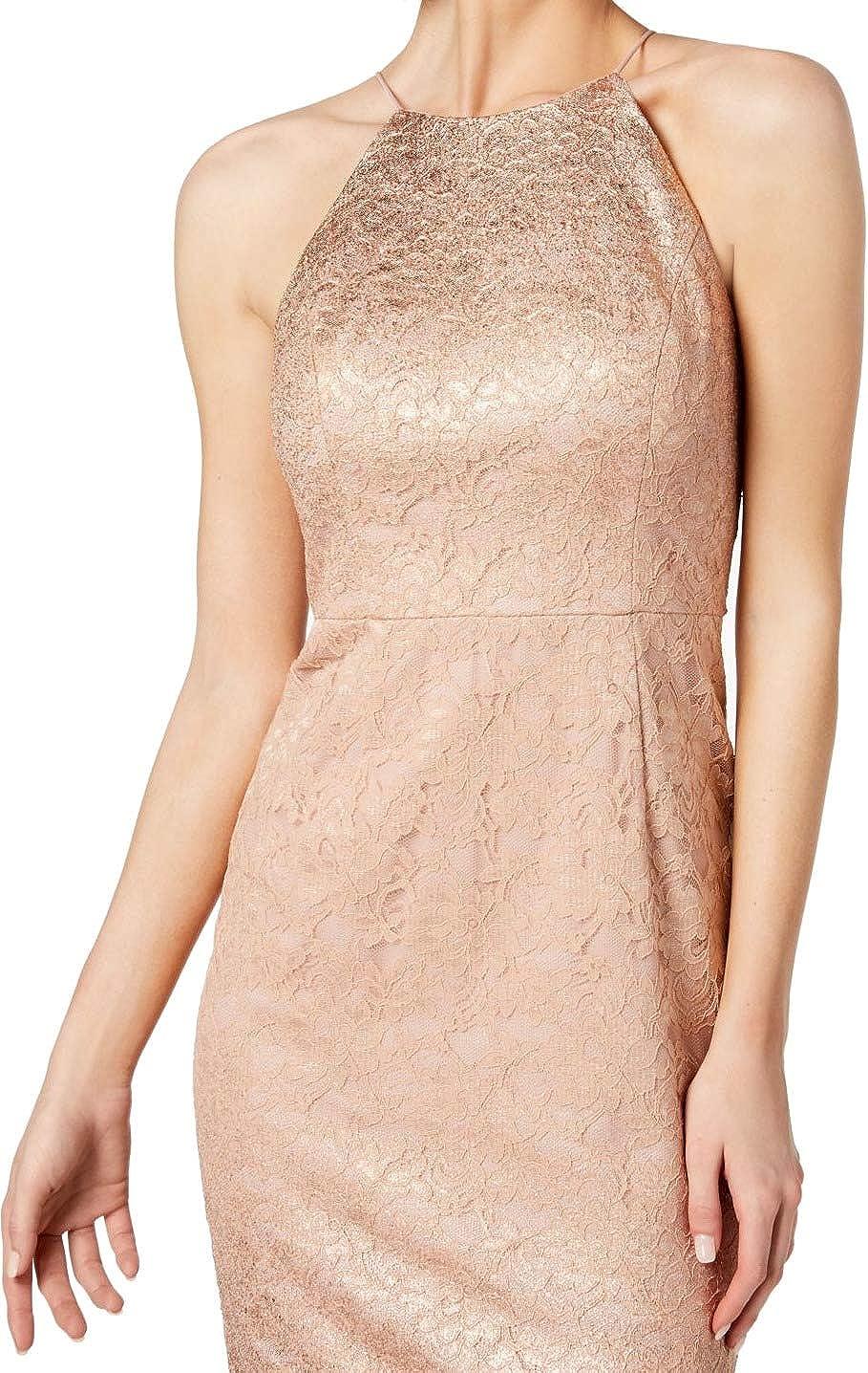 Adrianna Papell Women's Lace Halter Sheath Short Dress