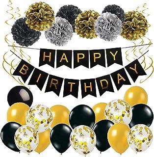 Anniversaire Bannière Noir Or Décoration Anniversaire Baudruche avec 1 Happy Birthday Banderole 17 Ballons en Latex 8 Pomp...