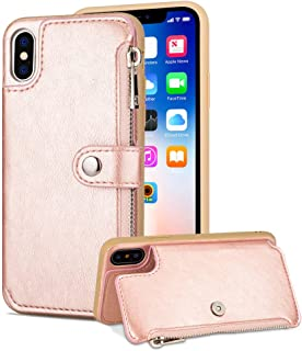 Aearl iPhone Xs Max Zipper Wallet Case,iPhone Xs Max Leather Case with Card Holder,iPhone Xs Max Flip Folio Credit Card Slot Money Pocket Magnetic Detachable Buckle Phone Case for Women Men-Rose Gold