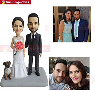wedding cake topper with dog figurine make a Custom bobblehead mini me dog statue couple figurine custom bobblehead wedding toppers