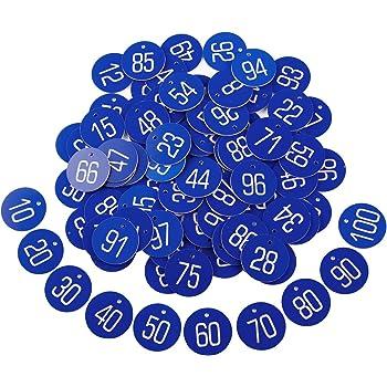 1-50 Blau Kennzeichnungsmarken Textmarken Zahlenmarken Schlüsselmarken mit Ringe