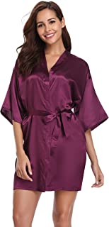 Vlazom Women's Kimono Robes Short Satin Pure Color Bridal Party Robe with Oblique V-Neck
