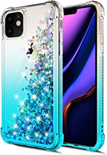 for iPhone 11 Case,WORLDMOM Gradient Colorful Design Bling Flowing Liquid Floating Sparkle Colorful Glitter Waterfall TPU Protective Phone Case for Apple iPhone 11 6.1 inch [ 2019 ],Blue