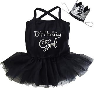 Kirei Sui Baby 1st First Birthday Black Ballet Tutu Bodysuit Crown Headband