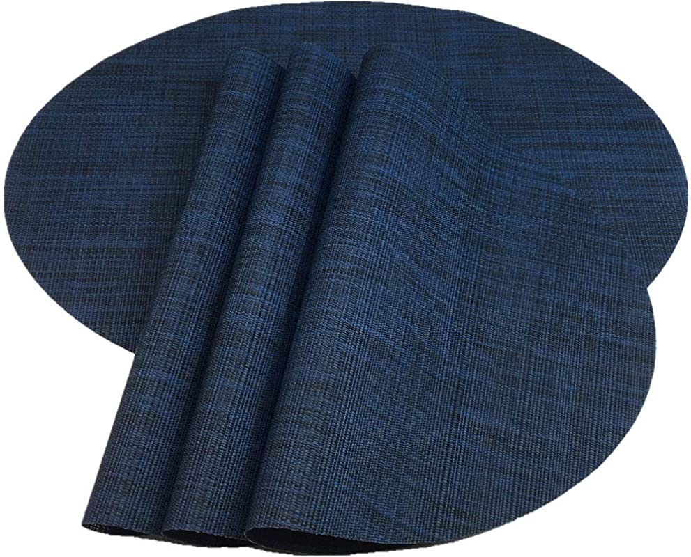 Red A Placemats Imitation Bamboo Oval Woven Vinyl Heat Resistant Placemats Washable Table Mats For Kitchen Table Set Of 4 Navy Blue