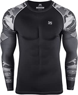 zipravs Sports Compression Workout Shirts Rash Guard Long Sleeves Crossfit Jiu Jitsu BJJ MMA Baselayer