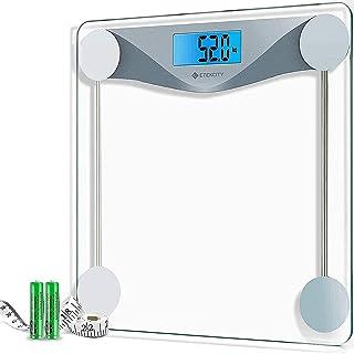 Etekcity Báscula de Baño Digital de Alta Medición Precisa 180kg / 400lbs con 303 x 303 x 26 mm Gran Plataforma y LCD Retroiluminación, Cinta Métrica Incluida, Vidrio Transparente, EB4074C