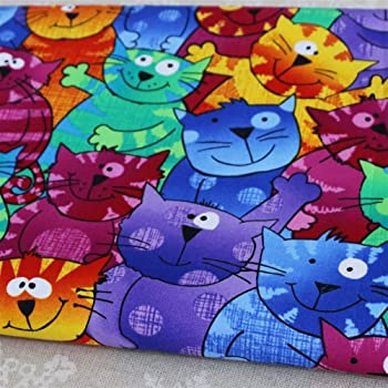GZSC Telas para Patchwork imprimió la Tela de Dibujos Animados Los Gatos Remiendo de Costura Impresión Digital Tela de algodón Tejidos 100% algodón: Amazon.es: Hogar