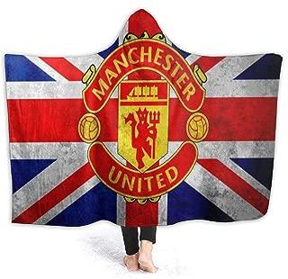 Hooded Blanket Manchester United Flag Hoodie Throw Blanket Ultra Soft Velvet Hood Blanket Lightweight Bed Blanket Quilt Durable Fleece Blanket Sofa Blanket Luxurious Carpet for Men Women