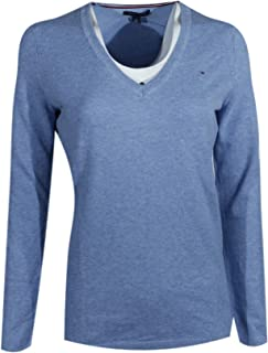 TOMMY HILFIGER Women Pima Cotton Solid V-Neck Logo Sweater