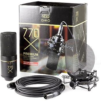 MXL Mics Multi-Pattern Condenser Microphone, XLR Connector, Black &amp Gold (770X)