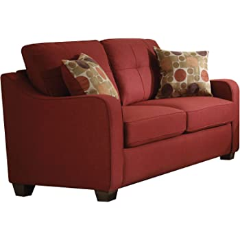 ACME Furniture Cleavon II Loveseat with 2 Pillows, Red Linen