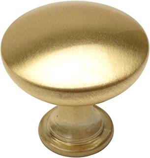 "10 Pack - Cosmas 5305BB Brushed Brass Traditional Round Solid Cabinet Hardware Knob - 1-1/4"" Diameter"